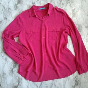 Alice + Olivia Hot Pink Fushia Silk Button Down